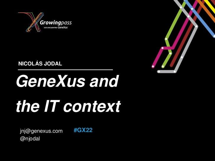 NICOLÁS JODALGeneXus andthe IT contextjnj@genexus.com   #GX22@njodal
