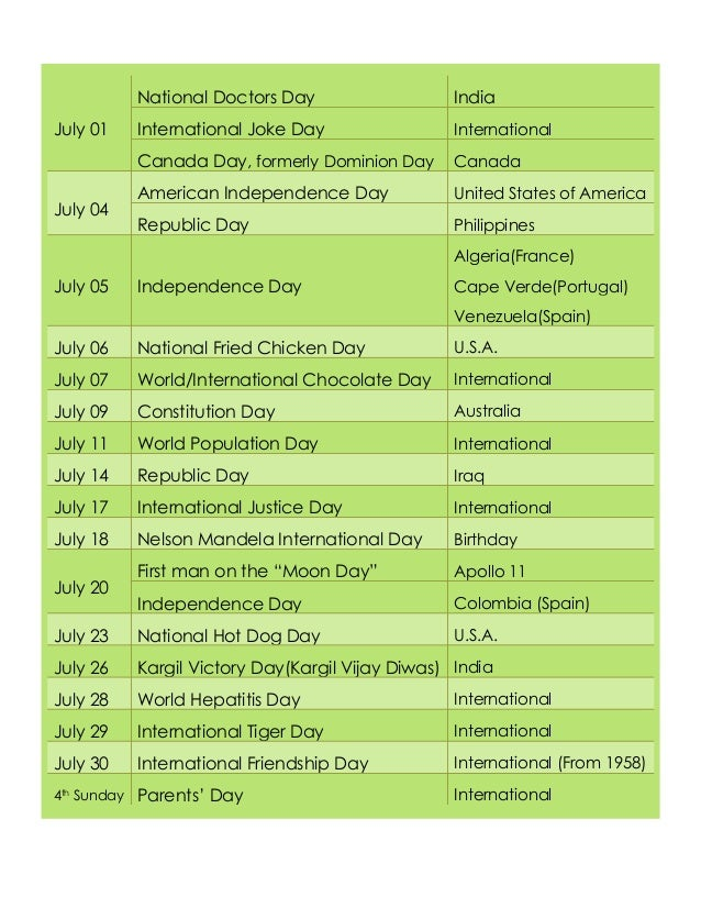 002 National and International Days - July