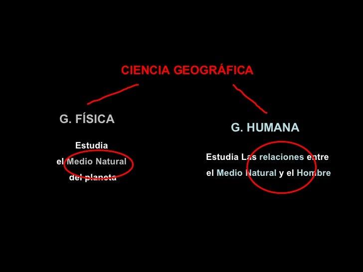 CIENCIA GEOGRÁFICA G. FÍSICA G. HUMANA Estudia  el  Medio Natural   del planeta Estudia Las  relaciones  entre  el  Medio ...