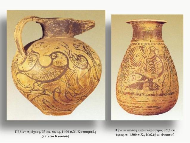 Πήλινη πρόχους, 33 εκ. ύψος, 1400 π.Χ. Κατσαμπάς (επίνειο Κνωσού)  Πήλινο απιόσχημο αλάβαστρο, 37,5 εκ. ύψος, π. 1300 π.Χ....