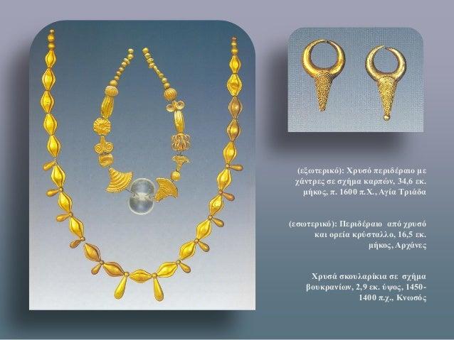 (εξωτερικό): Χρυσό περιδέραιο με χάντρες σε σχήμα καρπών, 34,6 εκ. μήκος, π. 1600 π.Χ., Αγία Τριάδα  (εσωτερικό): Περιδέρα...