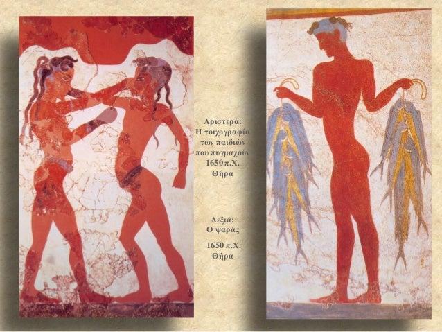 Αριστερά: Η τοιχογραφία των παιδιών που πυγμαχούν 1650 π.Χ. Θήρα  Δεξιά: Ο ψαράς  1650 π.Χ. Θήρα