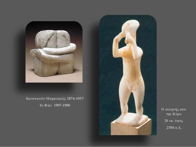 Ο αυλητής από την Κέρο  20 εκ. ύψος  2700 π.Χ.  Κονσταντίν Μπρανκούζι 1876-1957  Το Φιλί 1907-1908
