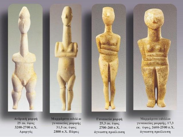 Ανδρική μορφή 25 εκ. ύψος 3200-2700 π.Χ. Αμοργός  Γυναικεία μορφή 25,3 εκ. ύψος 2700-260 π.Χ. άγνωστη προέλευση  Μαρμάρινο...