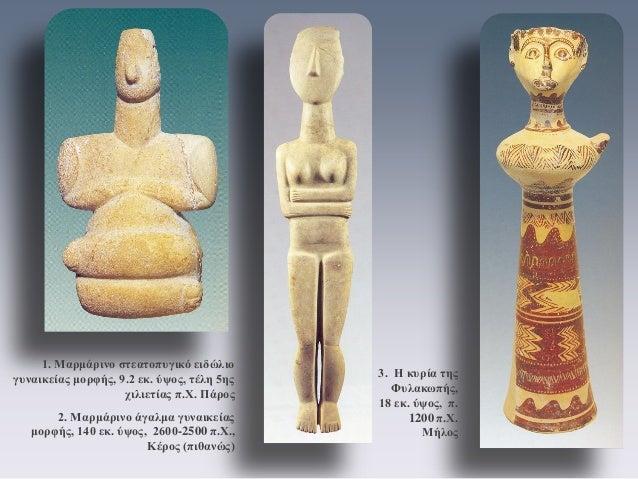3. Η κυρία της Φυλακωπής, 18 εκ. ύψος, π. 1200 π.Χ. Μήλος  1. Μαρμάρινο στεατοπυγικό ειδώλιο γυναικείας μορφής, 9.2 εκ. ύψ...