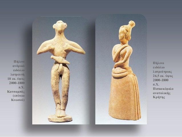 Πήλινο ανδρικό ειδώλιο λατρευτή 18 εκ. ύψος 2000-1800 π.Χ. Κατσαμπάς (επίνειο Κνωσού)  Πήλινο ειδώλιο λατρεύτριας 26,5 εκ....