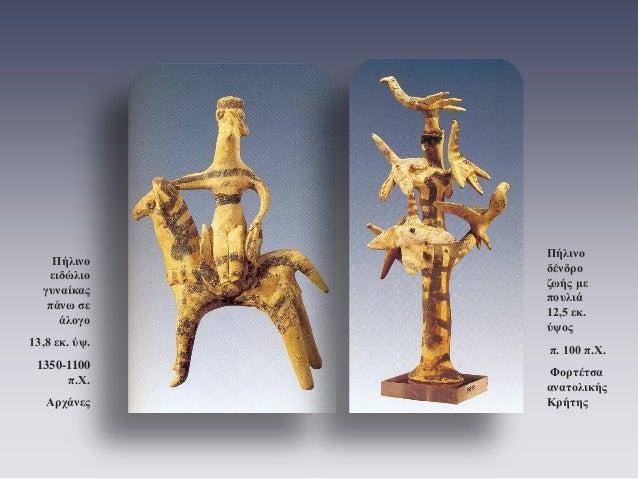 Πήλινο δένδρο ζωής με πουλιά 12,5 εκ. ύψος  π. 100 π.Χ.  Φορτέτσα ανατολικής Κρήτης  Πήλινο ειδώλιο γυναίκας πάνω σε άλογο...