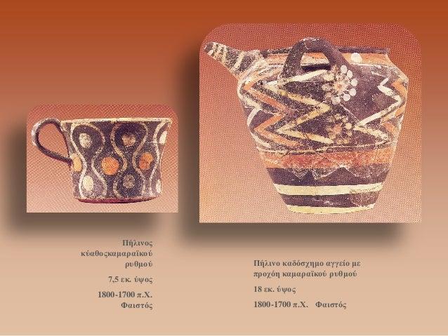 Πήλινος κύαθοςκαμαραϊκού ρυθμού  7,5 εκ. ύψος  1800-1700 π.Χ. Φαιστός  Πήλινο καδόσχημο αγγείο με προχόη καμαραϊκού ρυθμού...