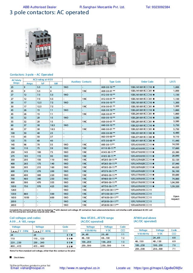 ABB Control gear Price list 2018 003