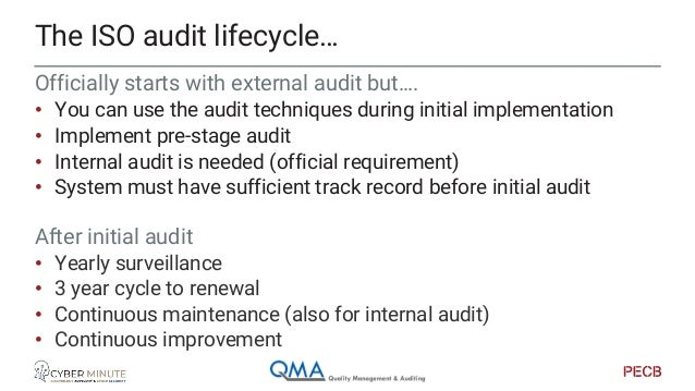 """Initial audit • """"Get in control"""" • Passing the mark • Basic maturity (ref. CMMI … level 3) • Room for growth and maturity ..."""