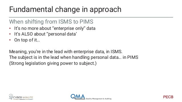 ISMS Fundamental change in mindset & environment ISMS ISMS PIMS