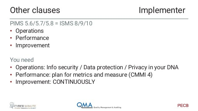 """Policies • ISMS ISO27002 (114 controls + …) • PIMS ISO27002 + ISO27701 • ISMS prefix """"A"""" = ISO27002 • Measures • Controls ..."""
