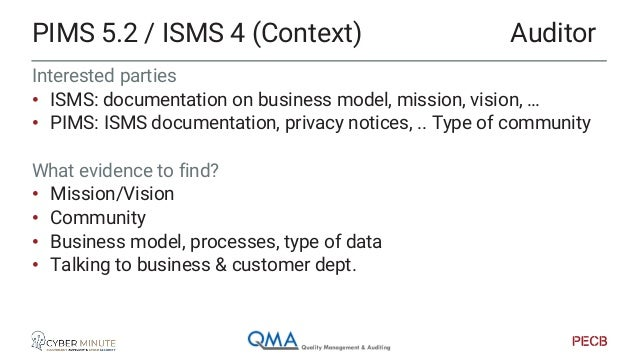 Interested parties • ISMS: documentation on business model, mission, vision, … • PIMS: ISMS documentation, privacy notices...