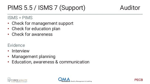 PIMS 5.6/5.7/5.8 = ISMS 8/9/10 • Operations • Performance • Improvement Evidence • Operations: processed, procedures, … on...