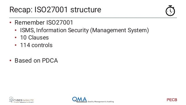 Act Plan DoCheck ISO27001 main principle: PDCA Time Quality Improvement Quality Assurance Standard Quality Assurance Stand...