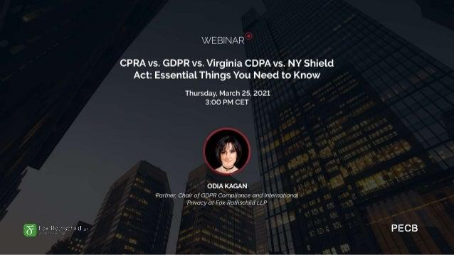 Agenda • California: CCPA/CPRA • Virginia: CDPA • New York: NY Shield • EU/US: GDPR Extraterritorial + Cross Border • US: ...