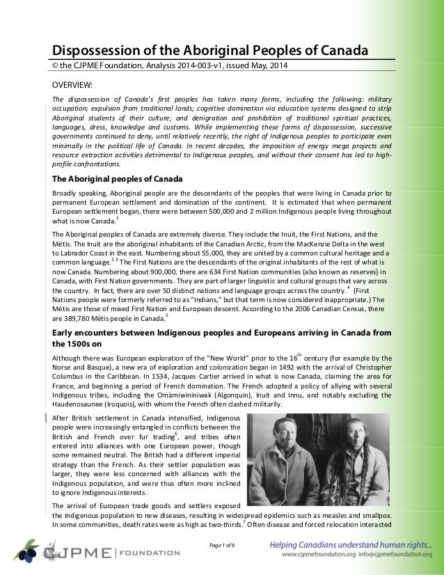 Page 1 of 6 Dispossession of the Aboriginal Peoples of Canada © the CJPME Foundation, Analysis 2014-003-v1, issued May, 20...