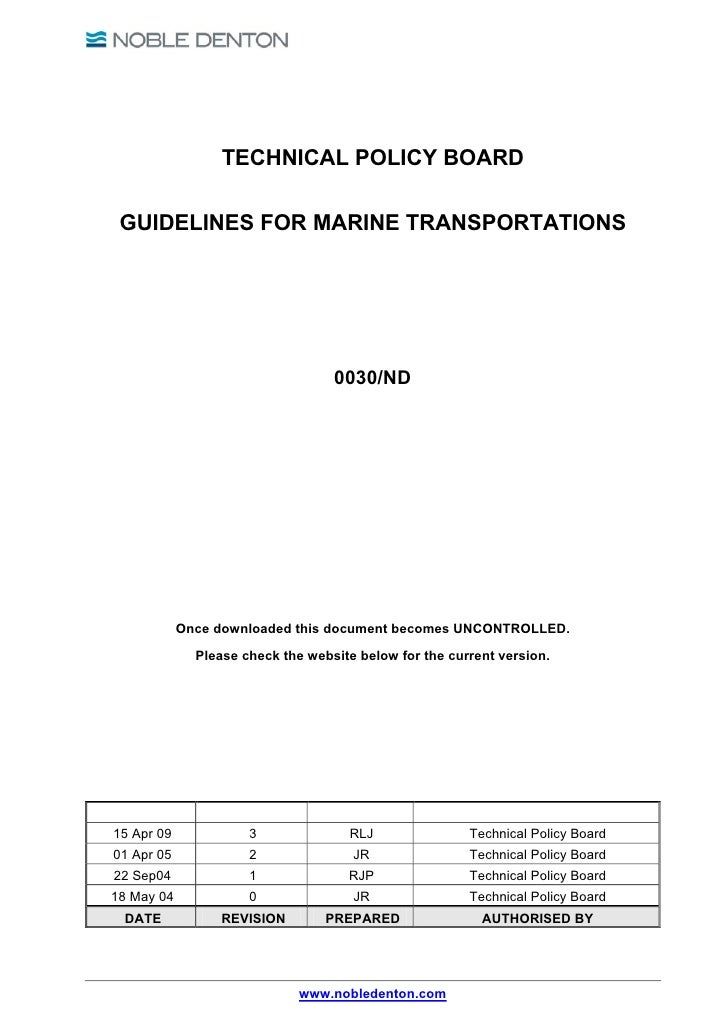 TECHNICAL POLICY BOARD GUIDELINES FOR MARINE TRANSPORTATIONS                                   0030/ND            Once dow...