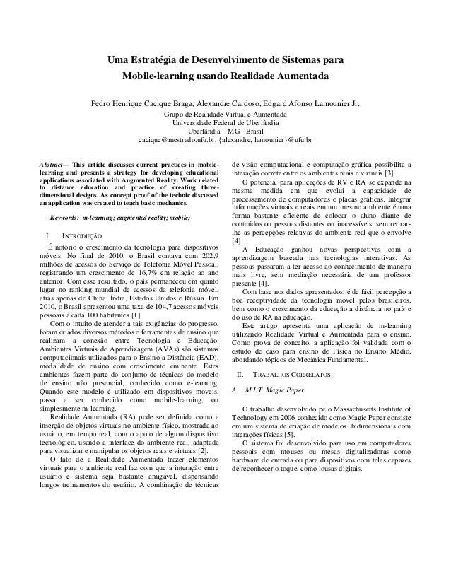 Uma Estratégia de Desenvolvimento de Sistemas para Mobile-learning usando Realidade Aumentada Pedro Henrique Cacique Braga...