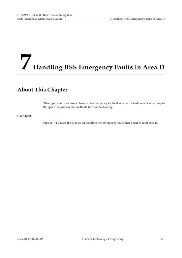 HUAWEI BSC6000 Base Station Subsystem BSS Emergency Maintenance Guide                                        7 Handling BS...