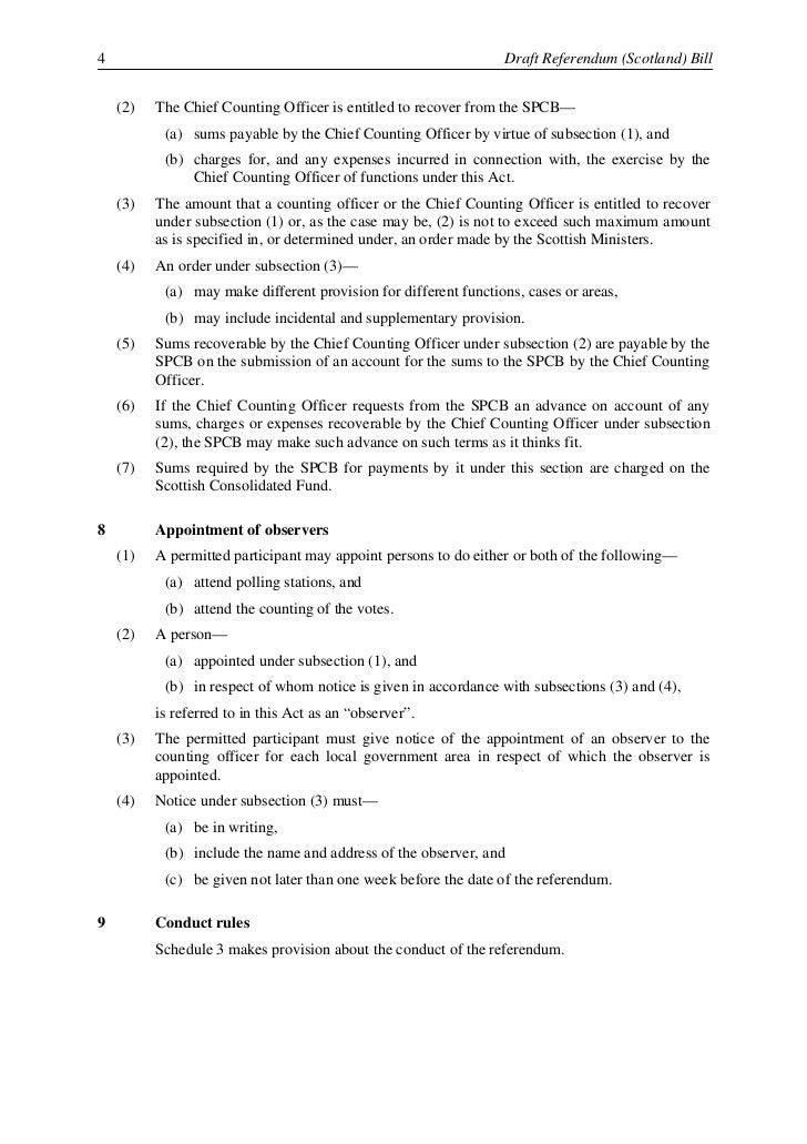 Draft Referendum (Scotland) Bill                                                                   5                      ...