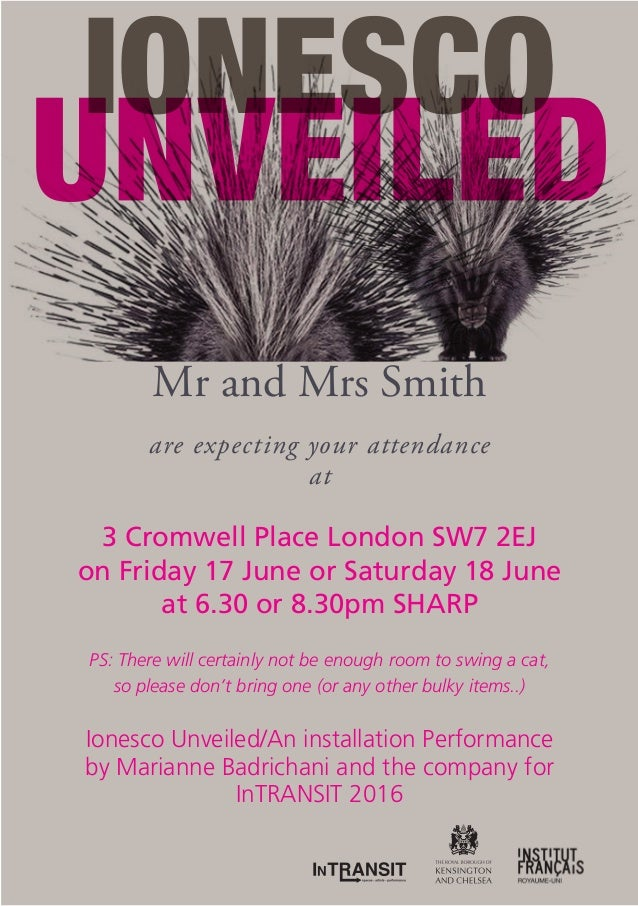 Mr and Mrs Smith are expecting your attendance at 3 Cromwell Place London SW7 2EJ on Friday 17 June or Saturday 18 June at...