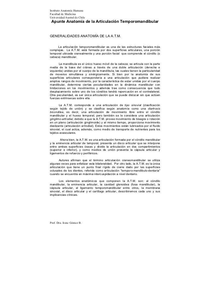 Instituto Anatomía Humana Facultad de Medicina Universidad Austral de Chile  Apunte Anatomía de la Articulación Temporoman...