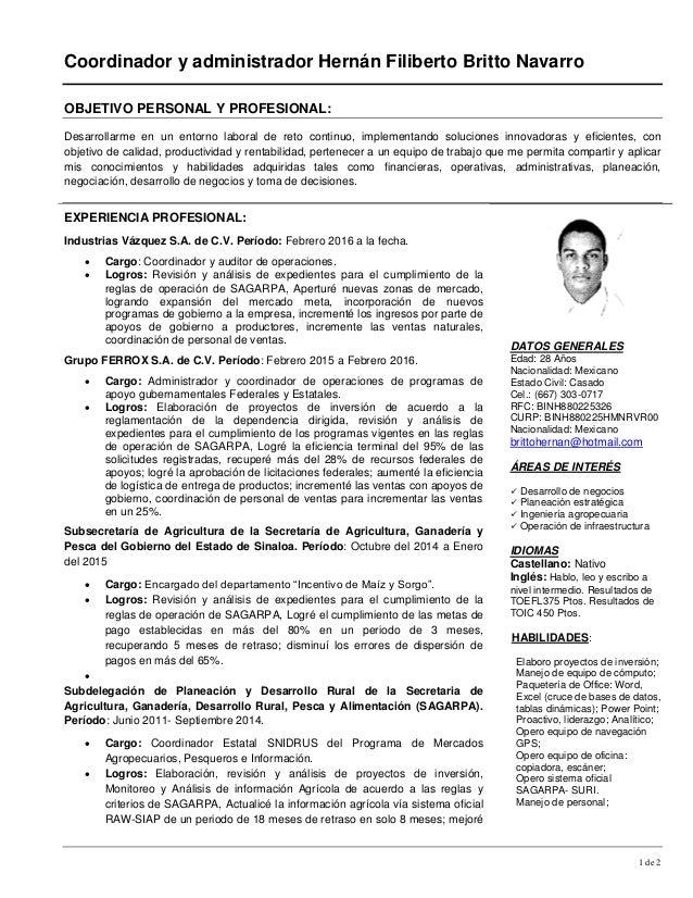 cv coordinador y administrador hernan filiberto britto navarro