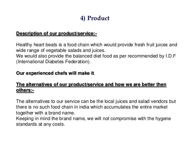 Business plan description of products and services sample