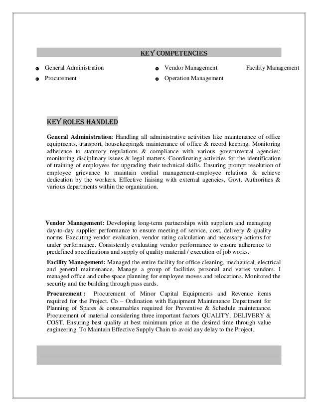 office administration and facility management resume shanu joy