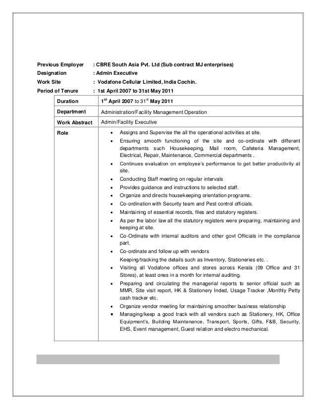 admin resume india
