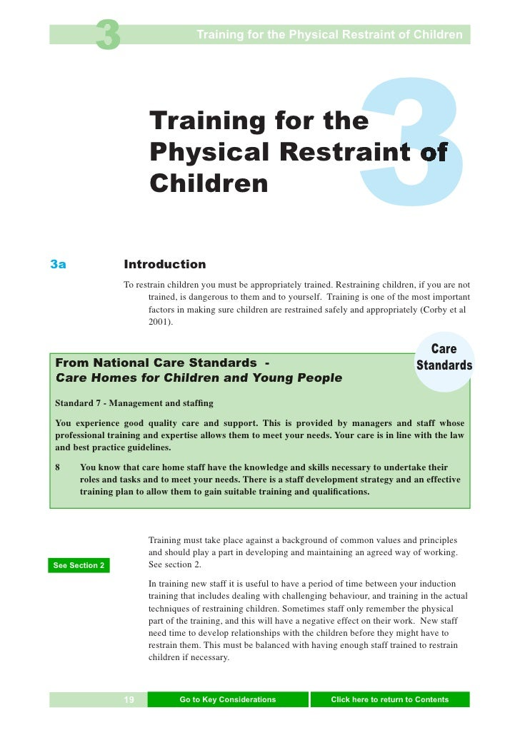 3                        Training for the Physical Restraint of Children     3a                        Training for the   ...