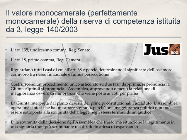 Il valore monocamerale (perfettamente monocamerale) della riserva di competenza istituita da 3, legge 140/2003 ✤  L'art. 1...
