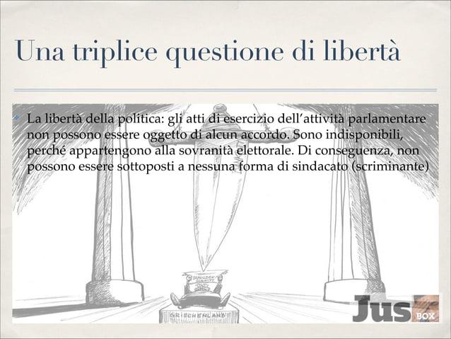 Una triplice questione di libertà ✤  La libertà della politica: gli atti di esercizio dell'attività parlamentare non posso...