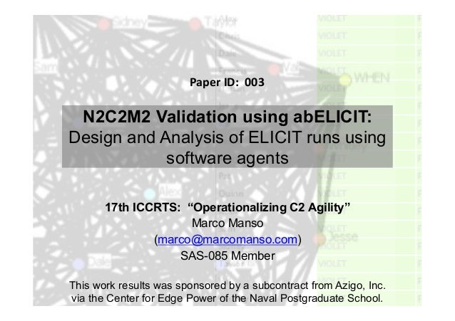 "N2C2M2 Validation using abELICIT:Design and Analysis of ELICIT runs usingsoftware agents17th ICCRTS: ""Operationalizing C2 ..."