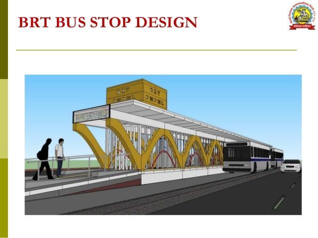 Plan Elevation Section Of Bus Stop : Pimpri chinchwad municipal corporation brts project
