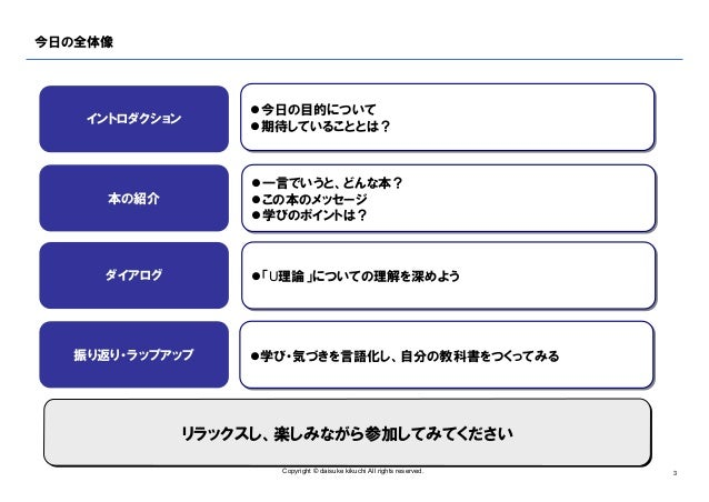 自分の教科書をつくる読書会 ♯003『u理論入門』 v1.0(公開用) Slide 3
