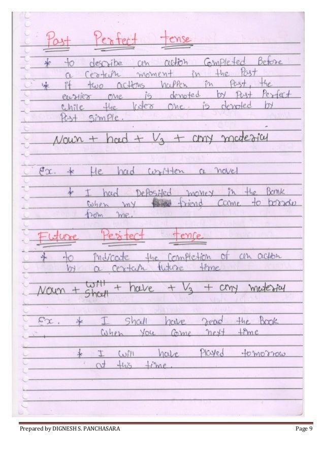Basic English Grammar Handwritten Notes of Dignesh Panchasara