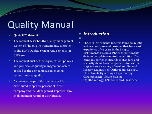 quality management system manual template