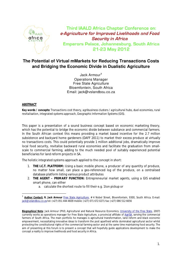 The Potential of Virtual mMarkets for Reducing Transactions Costs    and Bridging the Economic Divide in Dualistic Agricul...