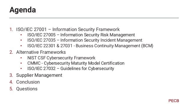 Links to other standards 1. ISO/IEC 27001 Business Continuity & Disaster Recovery ISO/IEC 27031 ISO/IEC 22301 Security Inc...