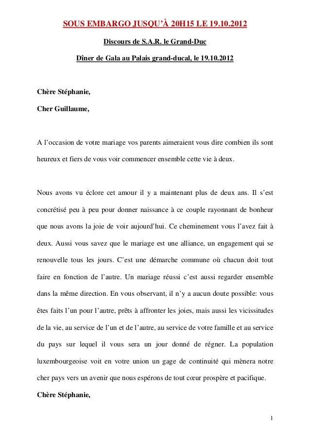 SOUS EMBARGO JUSQU'À 20H15 LE 19.10.2012                        Discours de S.A.R. le Grand-Duc              Dîner de Gala...