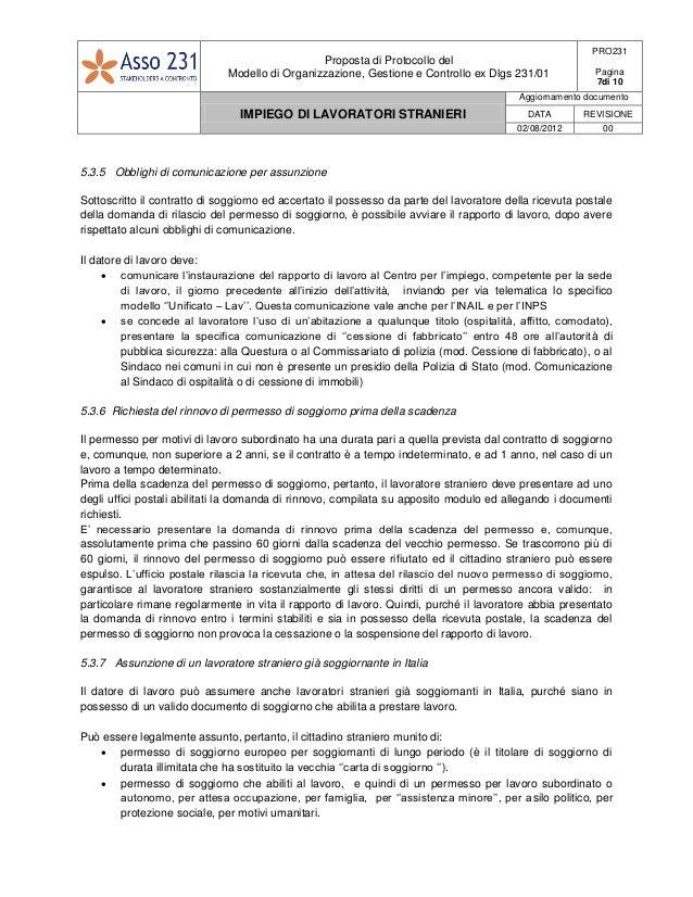 Pro231 procedura impiego di lavoratori stranieri for Documenti per rinnovo permesso di soggiorno per lavoro subordinato