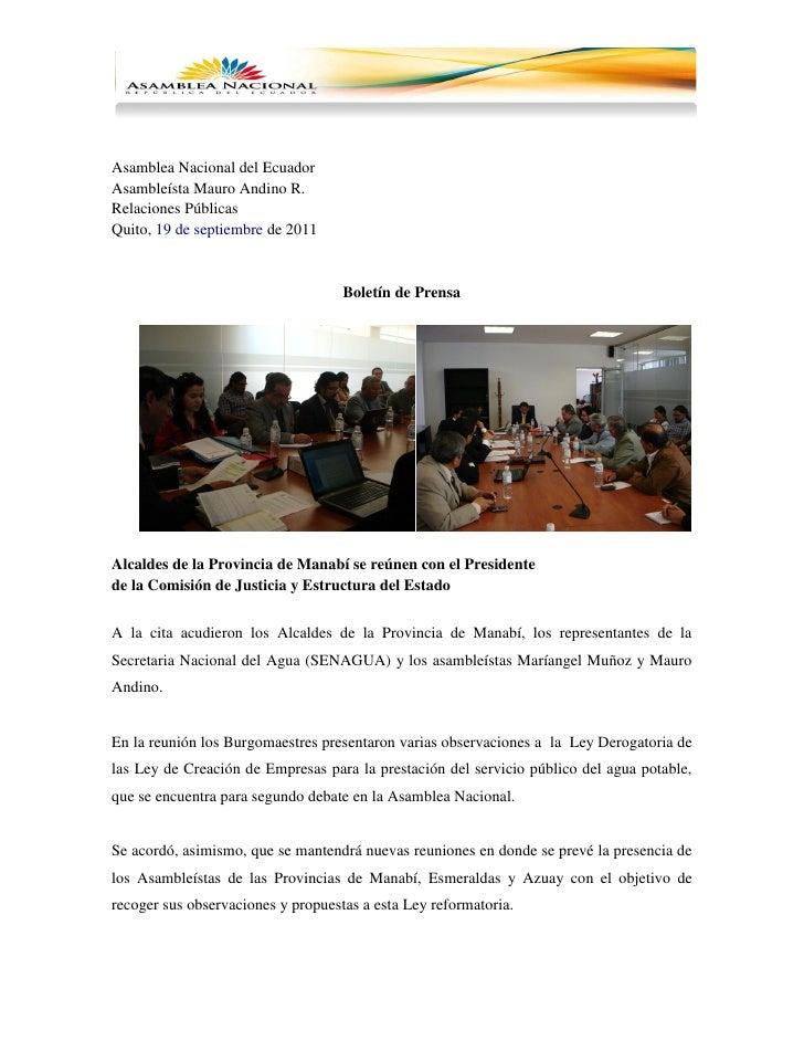 Asamblea Nacional del EcuadorAsambleísta Mauro Andino R.Relaciones PúblicasQuito, 19 de septiembre de 2011                ...
