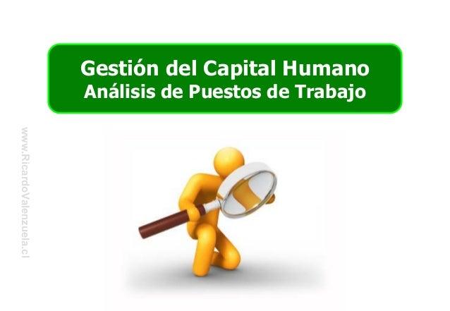 Gestión del Capital HumanoAnálisis de Puestos de Trabajowww.RicardoValenzuela.cl
