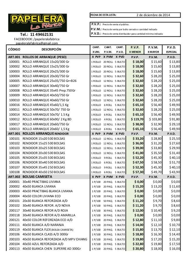 FECHA DE ESTA LISTA:  2 de diciembre de 2014  P.V.P.: Precio de venta al público.  P.V.M.: Precio de venta por bulto cerra...