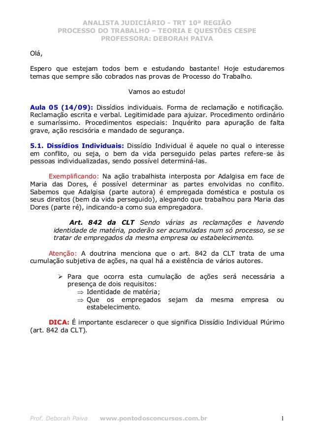 ANALISTA JUDICIÁRIO - TRT 10ª REGIÃO         PROCESSO DO TRABALHO – TEORIA E QUESTÕES CESPE                   PROFESSORA: ...