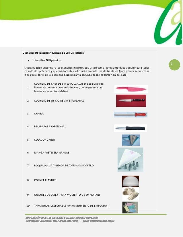 005 fmt tlc utensilios de cocina obligatorios 2013 1 for Manual de cocina industrial
