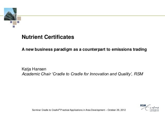 Nutrient CertificatesA new business paradigm as a counterpart to emissions tradingKatja HansenAcademic Chair 'Cradle to Cr...