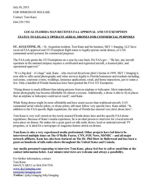 Press Release - SKY 1 Imaging